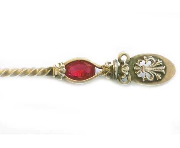 Ложка серебряная с красным камнем - Анапа