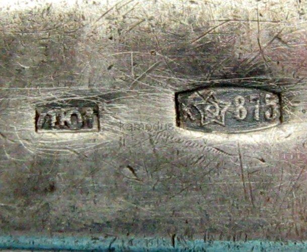 Чайная серебряная ложка 875 пробы