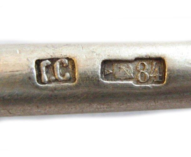 На ложке инициалы ЕГ, серебро 84 пробы - музей ложки