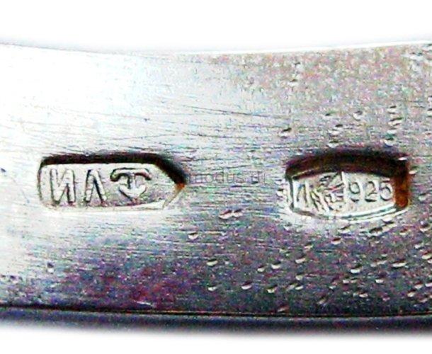 Ложка серебряная с эмалью, в пробе ИЛ