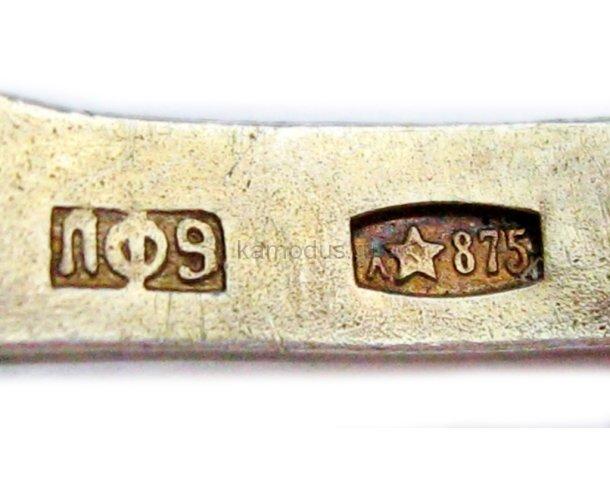 Ложка серебряная позолоченная с эмалью