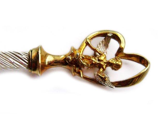Ложка серебряная с позолоченным ангелом