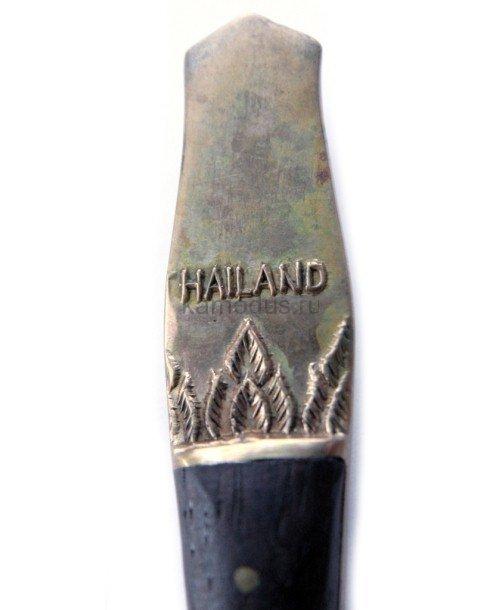 Ложка серебряная, ручка с накладками из черного дерева